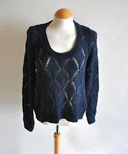 Ladies Dorothy Perkins Blue Navy Crochet Pointelle Jumper Casual Dip Hem 10 UK