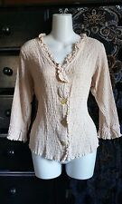 NOMADIC TRADERS BOHO Shirt Button Down Blouse L Smocked Rayon Top Beige Ruffles