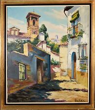 Beautiful Vintage Oil Painting, Spanish Cityscape Illegibly Signed, Nice Scene!