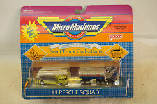 VINTAGE MICRO MACHINES RESCUE SQUAD #1 GALOOB TOY ON CARD 6407 1989 FIRE TRUCK