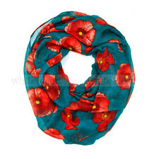 Poppy Flower Floral Print Block Circle Loop Wrap Infinity Scarf Casual Fashion