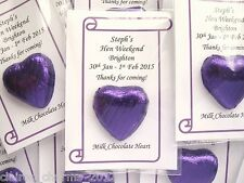 Cadbury Purple Wedding/Hen Party Favour - Single Chocolate Heart - low as 45p