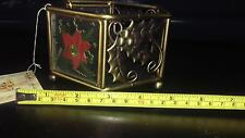 """Metal & Glass Decorative Candle Holder ~ 3""""h x 5""""w ~ Christmas Decor (A2)"""