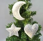 Gisela Graham Set of 3 Metal Christmas Tree Hanging Decorations Heart Moon Star