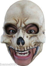 *Deluxe Skeleton Skull Chin Strap Chinless Latex Halloween Horror Costume Mask*