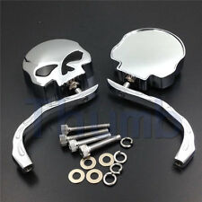 For Motorcycle Harley Dyna Softail Sportster Bobber Skull Flame Rearview Mirrors