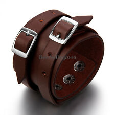 Gothic Punk Wide Brown Leather Belt Mens Womens Bracelet Cuff Bangle Wristband