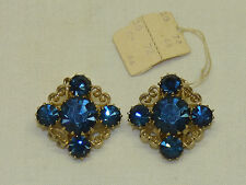 Old Weiss Filigree Hearts & Dark Blue Rhinestone Sparkly Clip Earrings Sparkling