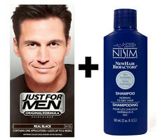 Just For Men Mens Shampoo Hair Colour Color Dye Real Black H55 + Nisim Shampoo