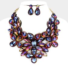Chunky Blue Mystic Glass Crystal Statement Felt Back Bib Gold Chain Necklace Set