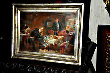 Antique  Medical Doctor caring for a sick child   oil on canvas
