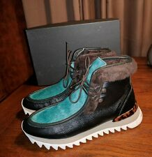NIB RACHEL COMEY SUMMIT LEA GREEN CALF HAIR BLACK LEATHER CHUKKA BOOTS 38 8 NEW
