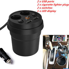 NEW Car Charger Outlets 2 USB Ports+ Dual Cigarette Lighters Plugs+LED Display