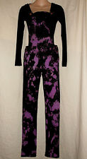 XS BLACK & PURPLE Tie Dye Denim Bib Suspender Jeans Overalls Punk Grunge Goth