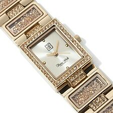 Victoria Wieck Floating Ice Loose Crystal Bracelet Dress Watch GOLDTONE NWT