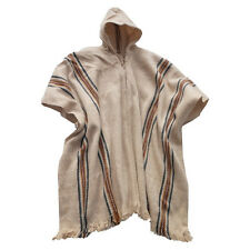 Beige  Handmade Poncho for man with Hood / Alpaca wool Bolivia