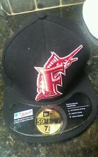 New Era Fitted Hat 59Fifty MLB Florida Marlins Retro Black Red White 7 1/2 60 cm
