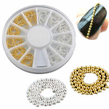 Nail Art DIY 3D Design Decoration Gold & Silver beads Chain Line Alloy Manicure