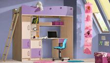 Kinderzimmer Bett Hochbett mit Matratze Schreibtisch eiche milchig lila Neu (MB)