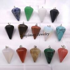 Mixed Semi-precious Stone Pyramis Shape Pendant For Necklace 24pcs/lot