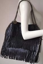 STELLA MCCARTNEY FALABELLA NAVY BLUE VEGAN LEATHER FRINGED SHINY DOT TOTE BAG
