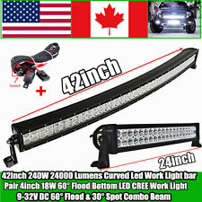 42inch 240W Led Work Light Bar Curved + 24inch 120W led light bar Jeep Offroad 4
