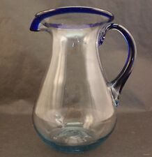 Mexican Hand Blown Glass Margarita Pitcher with Cobalt Blue Rim/Handle