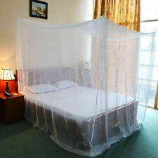 Mosquito Net Four Corner Bed Canopy Bug Queen Full King Size Insect White
