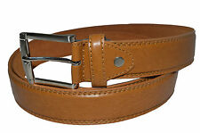 """BELT MENS BIG AND TALL JEANS NEW TAN  LEATHER SIZE 48"""" GENUINE LEATHER"""