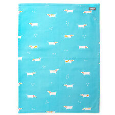 Dexam Single Tea Towel Patch the Dog Blue Cotton Kitchen Drying Cloth Textile