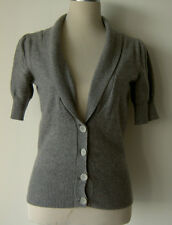 M&S Autograph 100% Pure Gris De Cachemira Top Cardigan Manga 3/4 UK 12 US 8 M