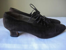 SALVATORE FERRAGAMO HEEL BROWN LEATHER LACE UP CLASSIC PUMP SHOES SIZE 8AA