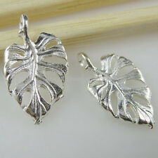 10762 50PCS Shiny Silver Tone Hollow Plants Leaf Pendant Charms Jewelry Finding