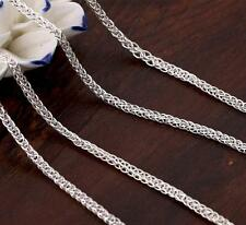 Authentic 990 Sterling Silver 3mm Wheat Link Chain Necklace 55cm Length