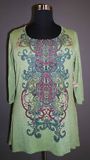 ONE WORLD WOMEN'S PLUS SIZE GREEN EMBELLISHED NECK 3/4 SLEEVE HI-LO TOP Sz 3X