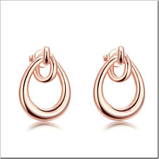 Lady Fashion Ear Studs Earrings Rose Gold Plated Zircon Jewelry LF On Sale