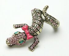 Women's Unique & Fancy Ring: Crocodile With Bow, Green Eyes & Teeth. Size 5-5,5.