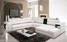 Polaris White Color - Contemporary Bonded Leather Sectional Sofa Free Shipping