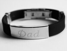 DAD - Mens Silicone & Silver Name Plate Engraved Bracelet - Father's Day Gifts