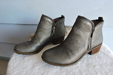 Women's Lucky Brand Bartalino Pewter Leather Ankle Boots Size 7.5