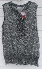 BLACK~FLORAL~PLUS~22/24~AVENUE~SHIRT~SLEEVELESS~PULL OVER~TOP~BLOUSE~NEW