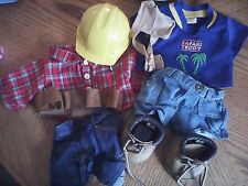 Lot of 2 Build A Bear outfits. Construction and Safari Teddy