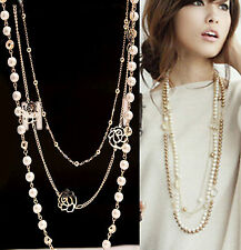 CHIC Women MultiLayer Long Pearl Necklace Pendant Sweater Chain Body Jewelry
