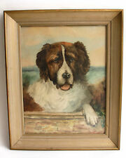 Vtg Original Watercolor Painting Saint Bernard Dog Portrait Signed Framed st