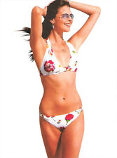 Two Piece White Floral Padded Bikini Swimsuit Metal Rings Feature Size 10-12