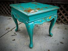 Shabby Chic Table, Antique, Sea Foam Green, Farmhouse, Mint, Side, End Table