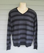 Paper Denim & Cloth Mens Black and Gray Striped V-Neck Pullover Sweater   XL