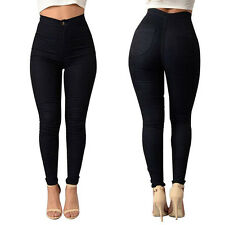 Women's Skinny Slim Fit Lace Up Pencil Pants Leggings Casual Denim Ripped Jeans