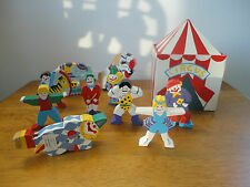 Vintage Wooden Carnival Circus Box Tent with Figurines Made in Srilanka