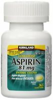 Kirkland Low Dose Aspirin 81mg 365 Enteric Coated Tablets for Pain Reliever